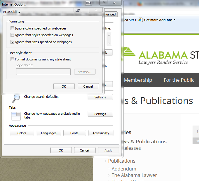 Internet Explorer accessibility dialog